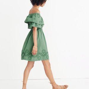 NWT madewell green off shoulder appliquéd dress 6